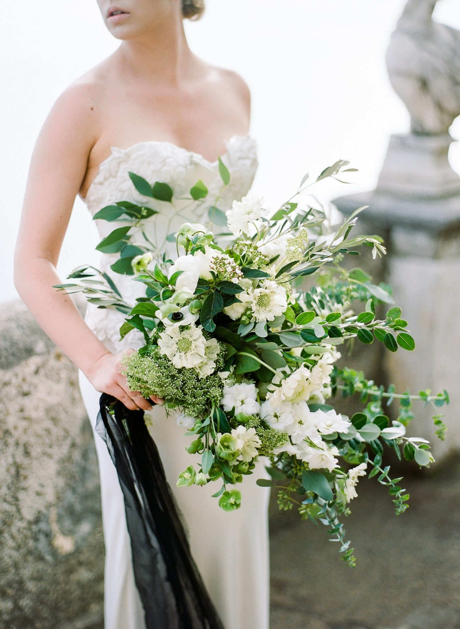Green, Black, and White Wedding Flowers 1