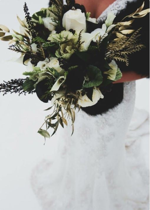 Green, Black, and White Wedding Flowers 5